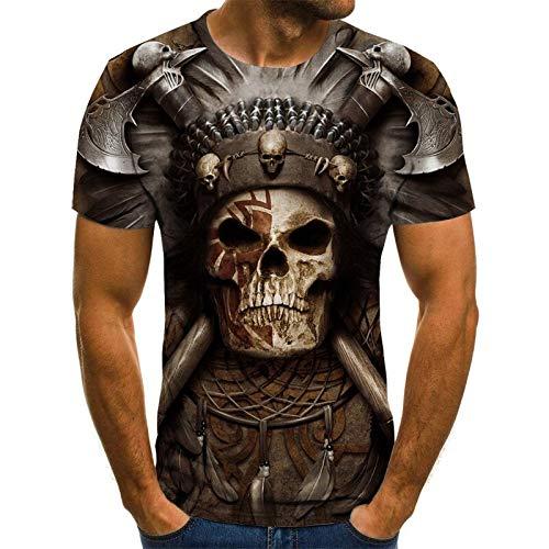 T Shirt Men Clothes Mens Summer Skull Print Men Short Sleeve T-Shirt 3D Print T Shirt Casual Breathable Funny T Shirts XXS Txu-1807