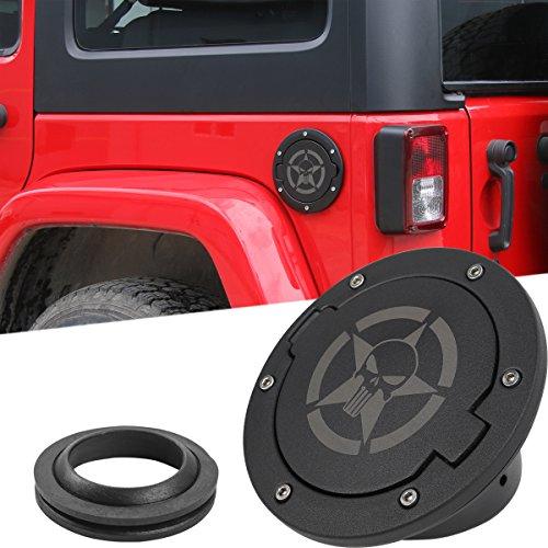 E-Most ABS Fuel Tank Gas Door Cap Triple Chrome Plated for Jeep Wrangler JK 2//4 Door 2007-2017