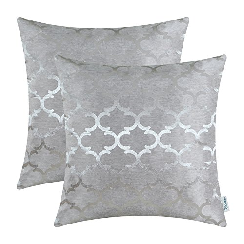 CaliTime Cushion Covers Pack of 2 Throw Pillow Cases Shells for Home Sofa Couch Modern Shining & Dull Contrast Quatrefoil Accent Geometric 40cm x 40cm Silver Gray