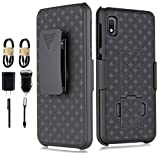 Galaxy A10e Case, 6goodeals for Samsung Galaxy A10E Accessory Pack with Tempered Glass Screen Protector, Belt Clip Holster Shell Combo Phone Case with Built-in Kickstand Shockproof Rugged Case