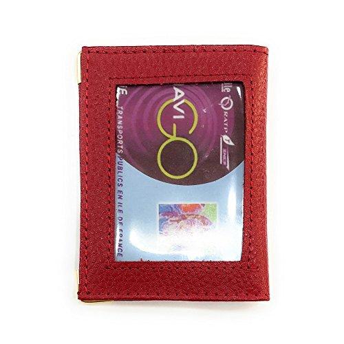 LOLUNA® Porte-carte simple 1 à 2 carte transparent compact en cuir existe en plusieurs couleur pour homme et femme - Rouge