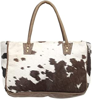 Myra Bags Bucket Genuine Leather with Animal Print Tote Bag S-0981