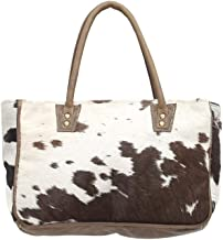 Myra Bags Bucket Genuine Leather with Animal Print Tote, Brown, Size One_Size, Tan, Khaki, Brown, One_Size