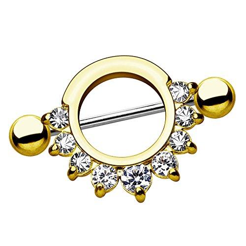 Piersando Brustwarzen Piercing Intimpiercing Nippelpiercing Brust Nippel Intim Brustwarzenpiercing Barbell Schild mit Kristallen Gold