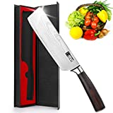Nakiri Knife - BXKM 7 inch Cleaver Knife, High Carbon German Stainless Steel Kitchen Knife with Ergonomic Handle,, Multifunctional Asian Chef Knife for Vegetable & Meat