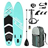 FBSPORT Aufblasbares Sup Stand-up Paddel Board 15cm Dick, iSUP Paddle Board mit Pumpe + 3-TLG verstellbares Alu-Paddel + Paddelbrett Pumpe .| Stand up Board Set -300x76x15cm (New Green)