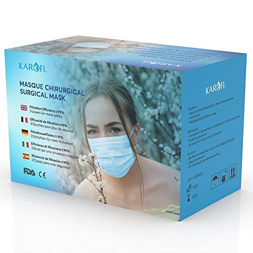 KAROFI - Medizinisch-chirurgische Masken vom TYP I, geprüft und zugelassen, BFE ≥ 95%, 3 Lagen, CE-Zertifiziert nach EN14683 : 2019, Box 50 Stück