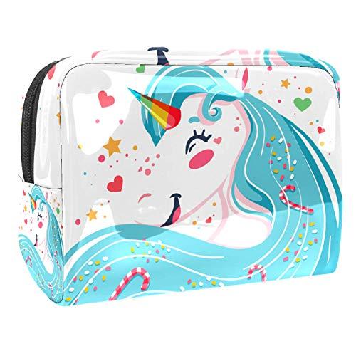 Bolsa de maquillaje portátil con cremallera, bolsa de aseo de viaje para mujeres, práctica bolsa de almacenamiento cosmético, mágica, bastón de caramelo de unicornio