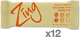 Zing Vital Energy Nutrition Bar, Peanut Butter Chocolate Chip, (12 Count), High Protein, High Fiber, Low Sugar, Chunky Peanut Butter, Real Dark Chocolate Chips, Soft Cookie Dough