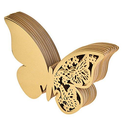 Lumanuby 50 Stück Schmetterling Tischkarte Pearlized Cardstock Papier Material Hochzeit NamenKarten Hohle Butterfly Cup Karte für Hochzeit Geburtstag Party Wein Glas Deko ca.10 * 8.0cm, Golden