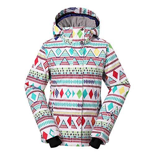 MICEROSHE Traje de esquí ligero para mujer, traje de esquí de snowboard y doble tabla, colorido con forma de diamante, cálido y grueso, diseño resistente al viento (color de la imagen, tamaño: L)
