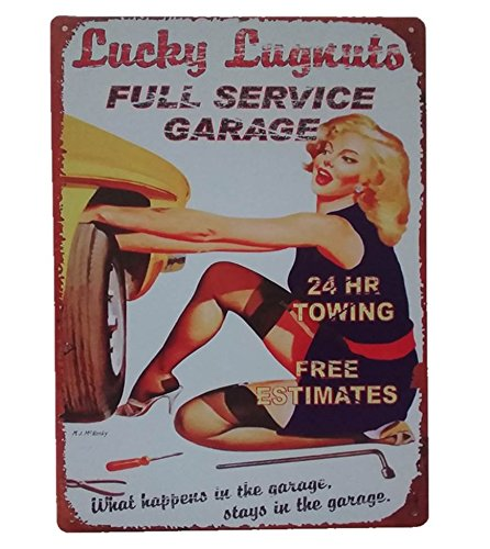 UNiQ Design Vintage Tin Signs Lucky Lugnuts Man Cave Garage Decor Retro Garage Poster Bar Wall Sign - The Perfect Metal Vintage Pub Sign, Pin Up Garage Sign or Garage Decor for Men Tin Sign 12 x 8