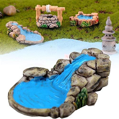 Bella Micro Paesaggio Cortile Crafts Lawn Resina Mini Giardino In Miniatura Stagno Torre Figurine (Color : Natural)