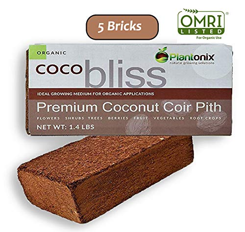 Plantonix Coco Coir Brick, OMRI Listed for Organic Use (5 Bricks)
