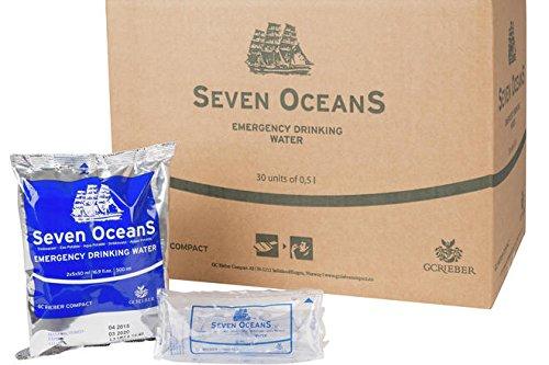 30 x Seven Oceans® Notfall Trinkwasser, Emergency Water, unzerstörbare Trinkwasserkonserven mit unbegrenzter Haltbarkeit und ohne Verwendung von Chemie oder Chlor