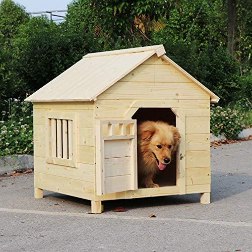 Holzhaus Verstecken Sich Für Tiere Der Beste Ort for Die Innen- Und Außeneinsatz Haustier Hund Schutzhund Hauskatze Hauskatze Schloss Freizeit (Color : Natural, Size : 75x65x70cm)