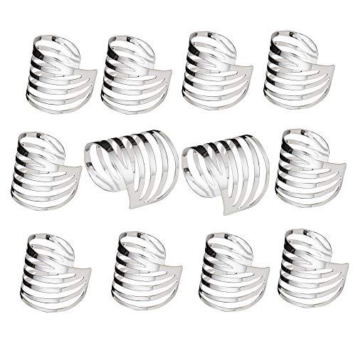 Feyarl 12 servilleteros artesanales para mesa, servilleteros de metal, anillos de servilletas, bodas, fiestas, servilletas, centros de mesa, celebraciones, banquetes a la luz de las velas (plata)