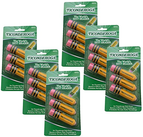 Dixon Ticonderoga Pencil Shaped Erasers 3 Pack (38953) (Set of 6) - 18 Total Erasers