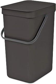 Brabantia Sort & Go, Poubelle Plastique, Gris foncé, 16 litres