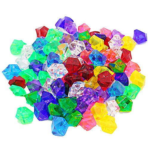 50 PCS Pirate Jewels Treasure, Acrylic Diamond Gems Jewels Childrens Crystal Acrylic Gemstones Kids Play Gems Ice Rocks Gems for Party Supplies Costume Stage Props Vase Fillers Wedding Decorations