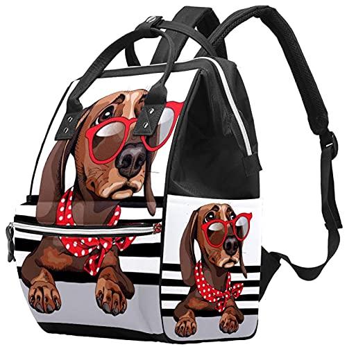 WJJSXKA Mochilas Bolsa de pañales Mochila para portátil Mochila de viaje Senderismo Mochila para mujeres Hombres - Perro salchicha con gafas de sol rojas