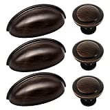 27pcs ORB Cabinet Knobs and Cup Handles, Sunriver 12 Packs Oil Rubbed Bronze Kitchen Cup Pulls 3 Inch 76mm Zinc Alloy Bin Cup Drawer Handles and 15 Packs knob Set