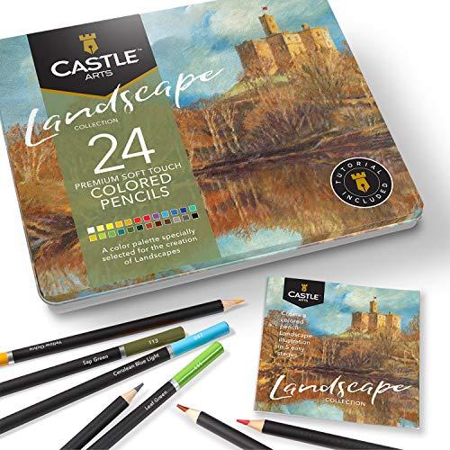 Castle Arts 24 lápices de colores en un estuche de metal, colores Landscape perfectos para dibujar, esbozar, colorear. Con núcleos blandos, mezcla superior y juego de capas