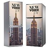 MEGADECOR Vinilo Adhesivo Decorativo para Nevera, Especial Libre De Burbujas, Edificio Empire State, Nueva York (200cm x 60cm)