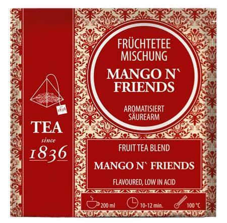Früchteteemischung Mango ´n Friends aromatisiert 50 Pyramidenbeutel im Sachet à 4 g