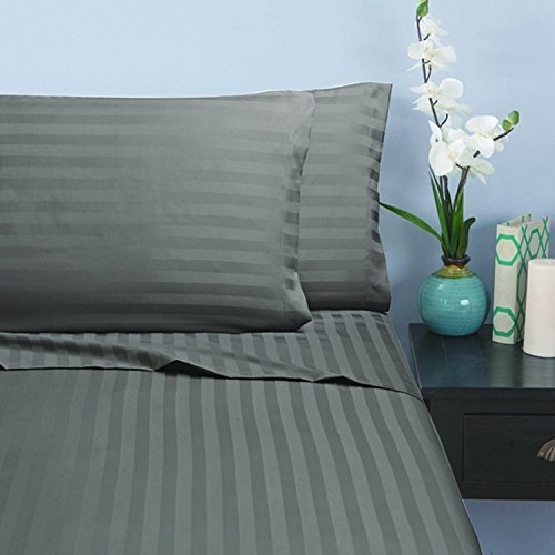 Elegant Comfort Silky-Soft 1500 Thread Count Egyptian Quality Wrinkle-Free 4-Piece Stripe Sheet Set , King Gray