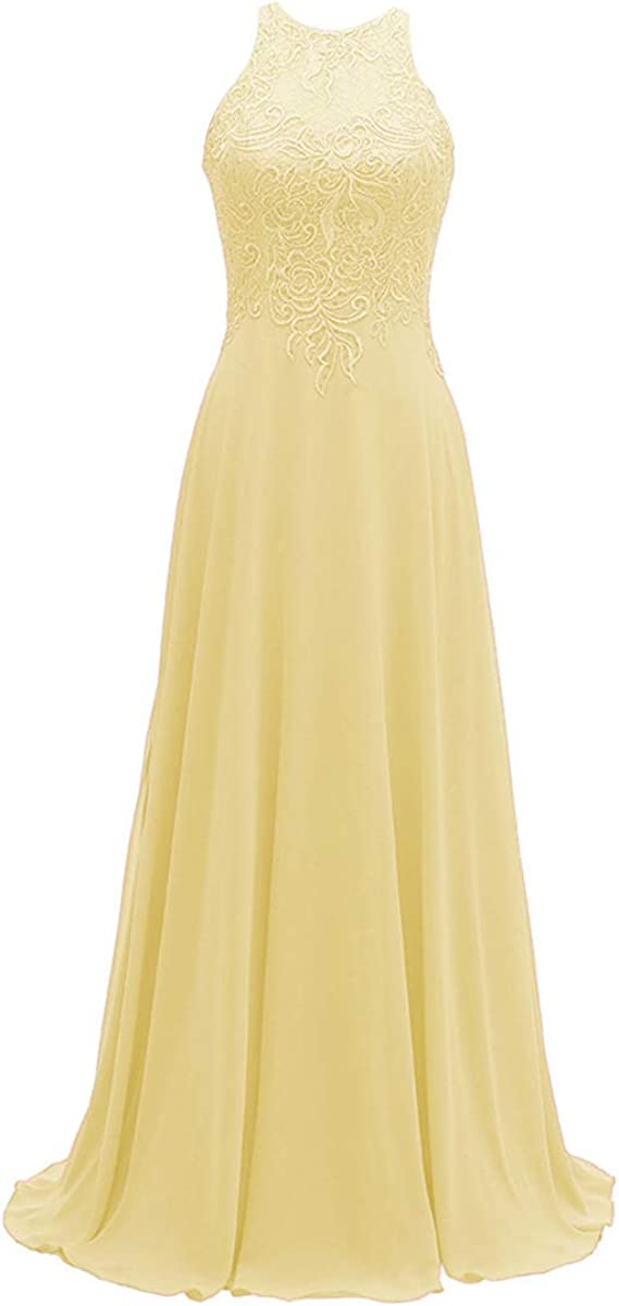 Halter Lace Bridesmaid Dresses Long for Wedding Chiffon A Line Formal Prom Dress Yellow Size 24