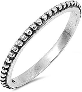 Thin Stackable Sterling Silver Beaded Bali Design Ring (Size 4-10)