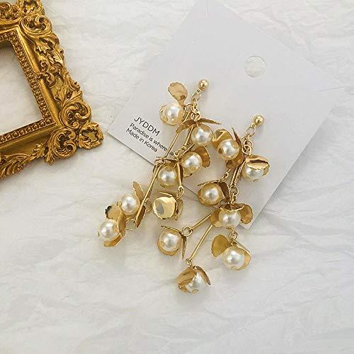 Erin Earring Pendientes Largos Largos De Flor De Perla De Metal Dorado Diseño Coreano Pendientes Personalizados Joyería De Boda Brillante para Fiesta