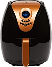 Copper Chef 3.2 QT Black and Copper Air Fryer Plus- Turbo Cyclonic Airfryer With Rapid Air Technology For Less Oil-Less Cooking.