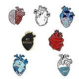 Craven Conjunto de alfileres de corazón creativos Océano Negro corazón Valiente Esmalte Pin Insignias Vendaje Gato de...