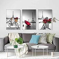 キャンバス絵画プリントブラックホワイト自転車小さな赤い傘タワーレトロポスターリビングルーム家の装飾写真クアドロス-60x80cmx3フレームなし
