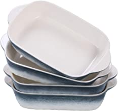 Hoxierence 20oz Small Ceramic Baking Dishes, 7.5L x 5.4W Inch Stone Embossed Pattern Bakeware with Double Handles, Individ...