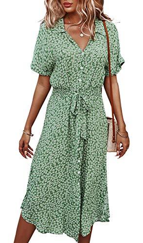 Jiraewh Damen Blumen Sommerkleid Knopf Kurzarm V-Ausschnitt Lose Knielang Kleid High Waist Midi-Hemdkleid Strandkleider Polka Dots Knopfkleid(Grün-3038,S)