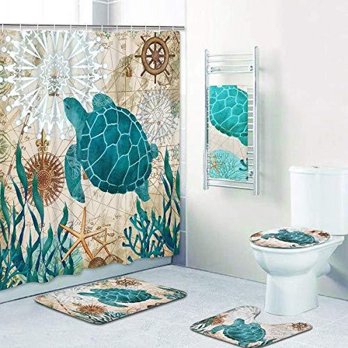 FAGavin Conjunto de equipos tortugas cortina de ducha 4 alfombras, incluyendo alfombras antideslizantes, fundas de asiento de inodoro, alfombras de baño, ducha tela de la cortina del océano náutica im 🔥