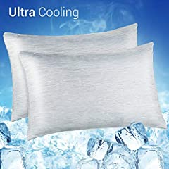 ❄️【 COOLING MATERIAL 】- This pillowcase is made of special Japanese Q-Max 0.55 Cooling Fibers. The larger the Q-max value, the more heat the fabric takes away. That's why the LUXEAR's cooling pillowcase is the best at absorbing body heat to transfer ...