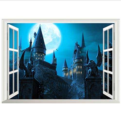 Harry Potter Movie Poster Magic Castle 3D Ventana Falsa Vinilo Pegatinas De Pared Decoración Del Hogar Papel Tapiz Extraíble