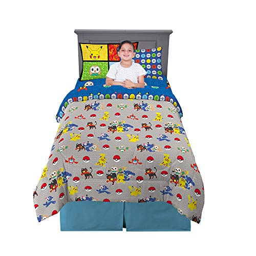Franco Kids Bedding Super Soft Comforter and Sheet Set with Bonus Sham, 5 Piece Twin Size, Pokemon