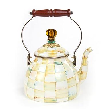 MacKenzie-Childs Parchment Check Enamel Tea Kettle - 2 Quart 7  dia., 10.5  tall (2 qt.)