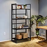 Halter Wooden Bookshelf with Folding Metal Frame. Spacious...