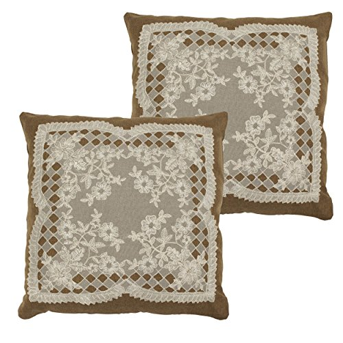 Creative Home Ideas Caisey Lace & Embroidery Applique Pillow Covers, Natural