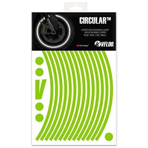 VFLUO Circular, Kit de Cintas, Rayas Retro Reflectantes para Llantas de Moto (1 Rueda), 3M Technology, Anchura Normal : 7 mm, Kawazaki Verde