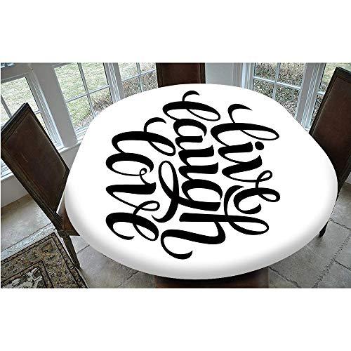 Mantel de mesa resistente a las manchas, diseño minimalista, diseño de tipografía minimalista, compatible con mesas ovaladas o Olbong de 122 x 172 cm, para decoración de mesa de cocina o comedor