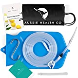 Aussie Health Co Non-Toxic Silicone Enema Bag Kit. 2 Quart. BPA & Phthalates Free. for at Home Water & Coffee Colon Cleansing. Blue Color. Includes Instruction Booklet.