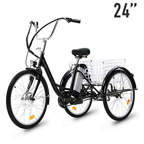 Best Review Of HIRAM Adult Electric Tricycle, 24 Inch 250W Electric Bike 3 Wheel Electric Trike Bicy...