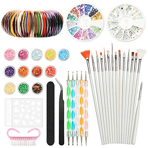 Nail Art Design Set Kit Pennelli Decorazioni Adesivi Nastro Decorazioni...